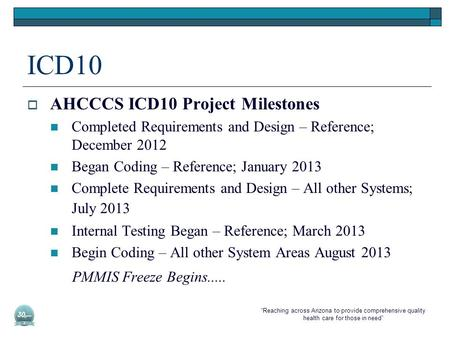 """Reaching across Arizona to provide comprehensive quality health care for those in need"" ICD10  AHCCCS ICD10 Project Milestones Completed Requirements."