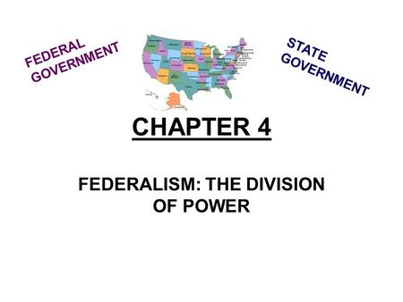 CHAPTER 4 FEDERALISM: THE DIVISION OF POWER STATE GOVERNMENT FEDERAL GOVERNMENT.