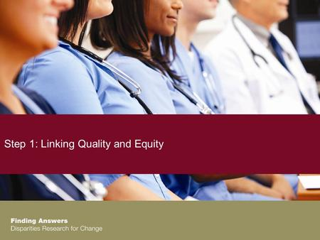 Step 1: Linking Quality and Equity. Linking Quality and Equity Agenda Overview of the Training Series Linking Quality Improvement and Equity Exercise.