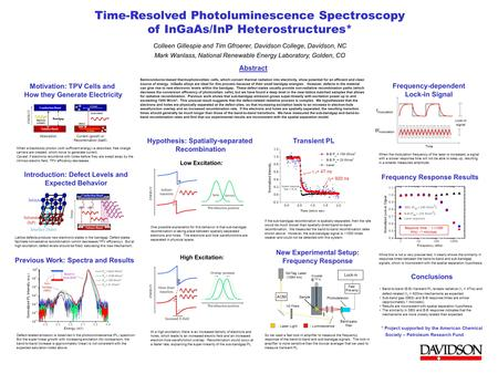 Time-Resolved Photoluminescence Spectroscopy of InGaAs/InP Heterostructures* Colleen Gillespie and Tim Gfroerer, Davidson College, Davidson, NC Mark Wanlass,