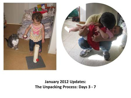 January 2012 Updates: The Unpacking Process: Days 3 - 7.