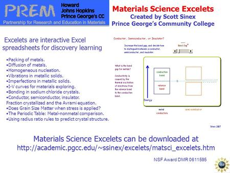 Materials Science Excelets Created by Scott Sinex Prince George's Community College Materials Science Excelets can be downloaded at