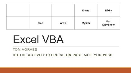 Excel VBA TOM VORVES DO THE ACTIVITY EXERCISE ON PAGE 53 IF YOU WISH ElaineNikky JennArrinMylinh Matt Move Row.