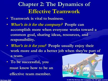 McGraw-Hill © 2005 The McGraw-Hill Companies, Inc. All rights reserved. Chapter 2: The Dynamics of Effective <strong>Teamwork</strong> <strong>Teamwork</strong> is vital to business.<strong>Teamwork</strong>.