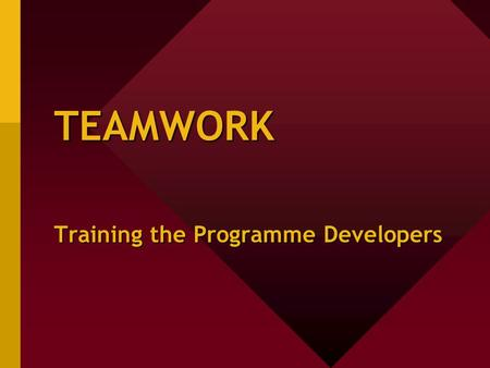 TEAMWORK Training the Programme Developers. Teamwork: why do we need it? Responsibility, potential and delegation Your optimal potential Resposibility.