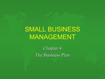 1 SMALL BUSINESS MANAGEMENT Chapter 4 The Business Plan.