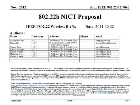 Doc.: IEEE 802.22-12/90r0 Submission Nov., 2012 NICTSlide 1 802.22b NICT Proposal IEEE P802.22 Wireless RANs Date: 2011-10-28 Authors: Notice: This document.