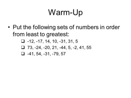 Number Names Worksheets : put numbers in order from least to ...
