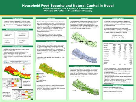 "TEMPLATE DESIGN © 2008 www.PosterPresentations.com Food Security Defined ""Food security exists when all people, at all times, have physical and economic."