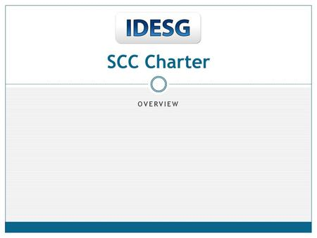 OVERVIEW SCC Charter. Content 1.Title – Standards Coordination Committee (SCC) 2.Statement of Purpose 3.Scope 4.List of Deliverables 5.IPR Mode (IDESG.
