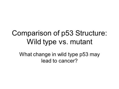 Comparison of p53 Structure: Wild type vs. mutant What change in wild type p53 may lead to cancer?