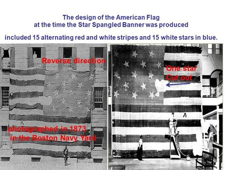 The design of the American Flag at the time the Star Spangled Banner was produced included 15 alternating red and white stripes and 15 white stars in blue.