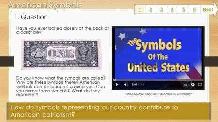 1. Question Have you ever looked closely at the back of a dollar bill? Do you know what the symbols are called? Why are these symbols there? American.