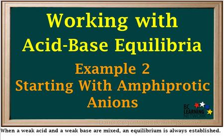 Working with Acid-Base Equilibria When a weak acid and a weak base are mixed, an equilibrium is always established. Example 2 Starting With Amphiprotic.