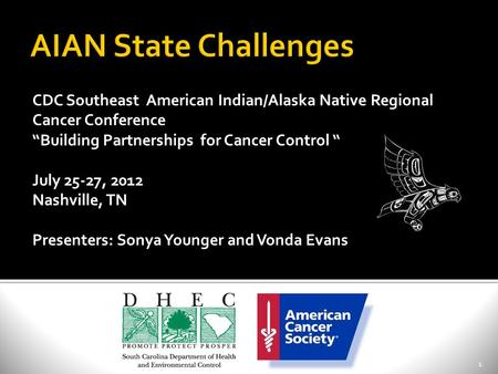 "1 CDC Southeast American Indian/Alaska Native Regional Cancer Conference ""Building Partnerships for Cancer Control "" July 25-27, 2012 Nashville, TN Presenters:"