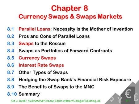 Kirt C. Butler, Multinational Finance, South-Western College Publishing, 3e 8-1 Chapter 8 Currency Swaps & Swaps Markets 8.1Parallel Loans: Necessity is.