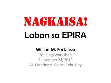 NAGKAISA! Laban sa EPIRA Wilson M. Fortaleza Training/Workshop September 24, 2012 ALU Mariners' Court, Cebu City.