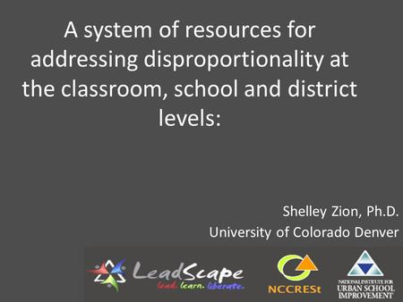 A system of resources for addressing disproportionality at the classroom, school and district levels: Shelley Zion, Ph.D. University of Colorado Denver.