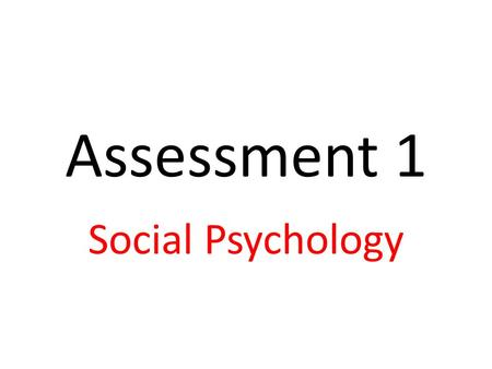 Assessment 1 Social Psychology. AO1 knowledge and understanding Summarise the aims and context of Milgram's (1963) research 'Behavioural study of obedience'.