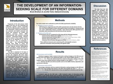 THE DEVELOPMENT OF AN INFORMATION- SEEKING SCALE FOR DIFFERENT DOMAINS Brock Brothers & Jennifer Vonk, Oakland University Introduction Proponents of the.