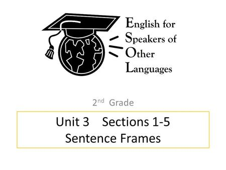 Unit 3 Sections 1-5 Sentence Frames 2 nd Grade. Unit 3 Section 1 Sentence Frames 2 nd Grade.