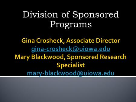 Division of Sponsored Programs. Division of Sponsored Programs (DSP) assists faculty, staff and graduate students in identifying and acquiring external.