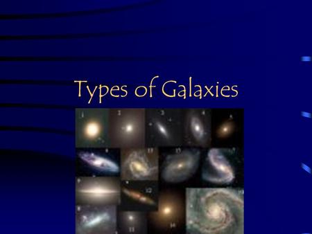Types of Galaxies. What is a galaxy? A giant cluster of stars, gases,and dust held together by gravity. Contains hundreds of billions of stars Three shape.