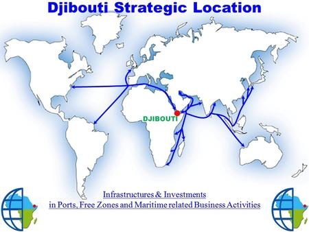 DJIBOUTI Djibouti Strategic Location. 1.Existing Infrastructures 2.Infrastructures Expansions 3.Future Infrastructures 4.Summary of Development Projects.