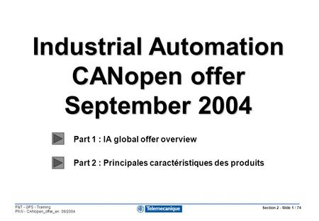 Section 2 - Slide 1 / 74 P&T - GPS - Training PhW - CANopen_offer_en 09/2004 Industrial Automation CANopen offer September 2004 Industrial Automation CANopen.