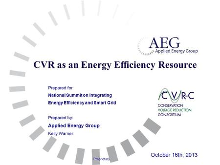 Proprietary CVR as an Energy Efficiency Resource Prepared for: National Summit on Integrating Energy Efficiency and Smart Grid Prepared by: Applied Energy.