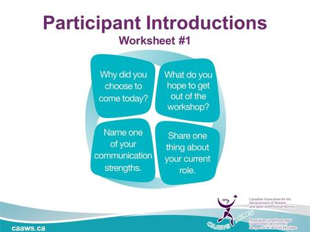 Caaws.ca Participant Introductions Worksheet #1. Effective Communication Location / Date.