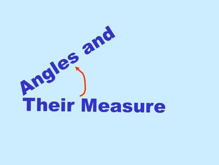 Angles and Their Measure.