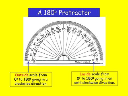 A 180 o Protractor Outside scale from 0 o to 180 o going in a clockwise direction. Inside scale from 0 o to 180 o going in an anti-clockwise direction.