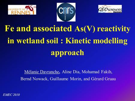 Fe and associated As(V) reactivity in wetland soil : Kinetic modelling approach Mélanie Davranche, Aline Dia, Mohamad Fakih, Bernd Nowack, Guillaume Morin,