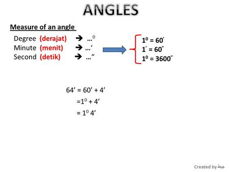 "Measure of an angle Degree (derajat)  … 0 Minute (menit)  …' Second (detik)  …"" 1 0 = 60 ' 1 ' = 60 "" 1 0 = 3600 "" 64' = 60' + 4' =1 0 + 4' = 1 0 4'"