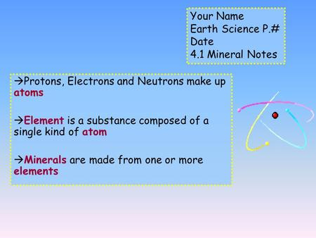 Protons, Electrons and Neutrons make up atoms  Element is a substance composed of a single kind of atom  Minerals are made from one or more elements.