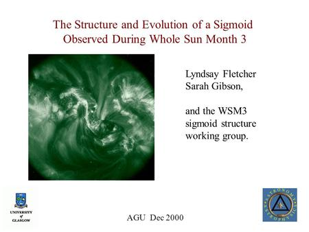 AGU Dec 2000 The Structure and Evolution of a Sigmoid Observed During Whole Sun Month 3 Lyndsay Fletcher Sarah Gibson, and the WSM3 sigmoid structure working.