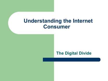 Understanding the Internet Consumer The Digital Divide.