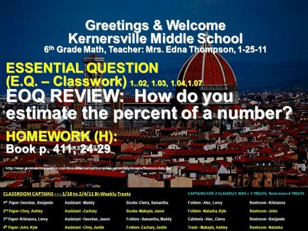 Greetings & Welcome Kernersville Middle School 6 th Grade Math, Teacher: Mrs. Edna Thompson, 1-25-11 ESSENTIAL QUESTION (E.Q. – Classwork) 1..02, 1.03,