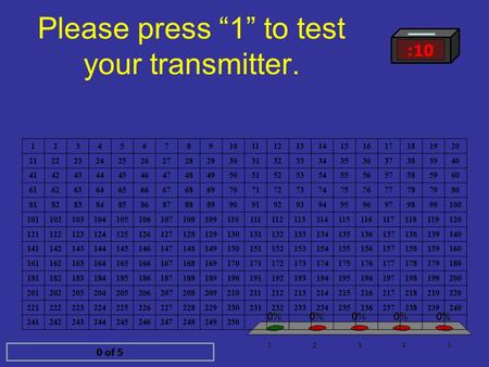 "Please press ""1"" to test your transmitter. :10 0 of 5 1.1 2.2 3.3 4.4 5.5 1234567891011121314151617181920 2122232425262728293031323334353637383940 4142434445464748495051525354555657585960."