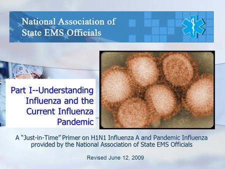 "Part I--Understanding Influenza and the Current Influenza Pandemic A ""Just-in-Time"" Primer on H1N1 Influenza A and Pandemic Influenza provided by the National."