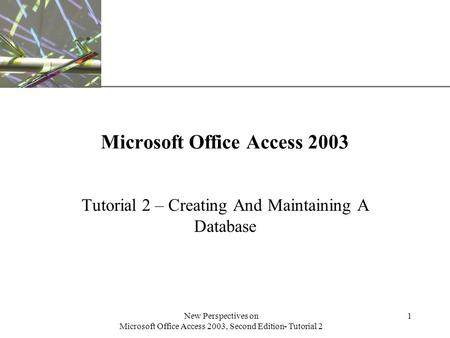 XP New Perspectives on Microsoft Office Access 2003, Second Edition- Tutorial 2 1 Microsoft Office Access 2003 Tutorial 2 – Creating And Maintaining A.
