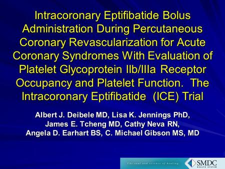 Intracoronary Eptifibatide Bolus Administration During Percutaneous Coronary Revascularization for Acute Coronary Syndromes With Evaluation of Platelet.