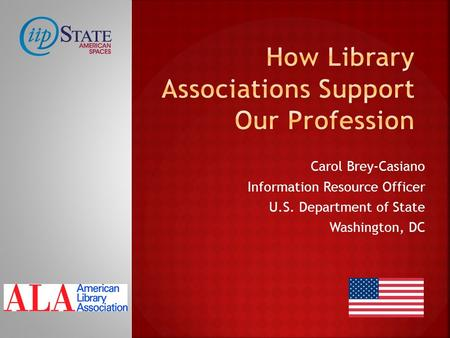 Carol Brey-Casiano Information Resource Officer U.S. Department of State Washington, DC.