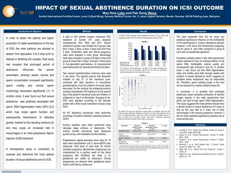 TEMPLATE DESIGN © 2008 www.PosterPresentations.com IMPACT OF SEXUAL ABSTINENCE DURATION ON ICSI OUTCOME May Kew Loke and Pak Seng Wong Sunfert International.