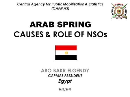 Central Agency for Public Mobilization & Statistics (CAPMAS) ARAB SPRING CAUSES & ROLE OF NSOs ABO BAKR ELGENDY CAPMAS PRESIDENT Egypt 28/2/2012.