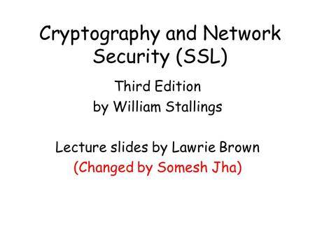 Cryptography and Network Security (SSL)