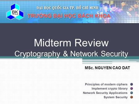 Midterm Review Cryptography & Network Security
