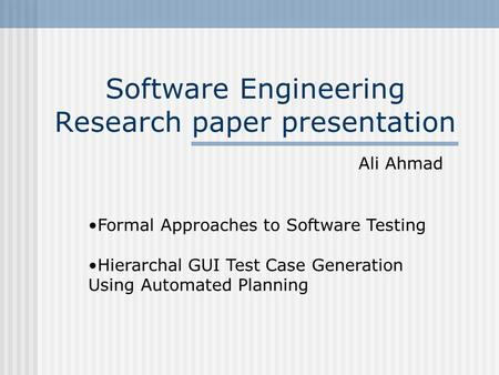 Software Engineering research paper