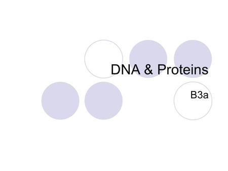DNA & Proteins B3a. OBJECTIVES Grade D-C Describe the link between DNA and proteins. Grade B-A* Explain how protein structure is linked to DNA Explain.